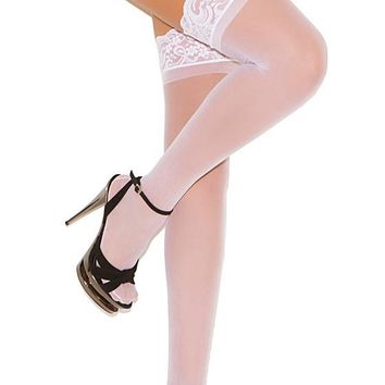 White Bridal Lace-Top Thigh-High Stockings w/Back Seam (One-Size)