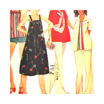 McCalls 6973 Size 10 Vintage Maternity Sewing Pattern Misses Dress, Pants, Jacket, Top or Shorts Summer Maternity Clothes