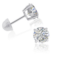 Sterling Silver Stud Earrings made with Swarovski Zirconia ( 3ct tw)