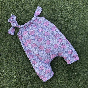 Harem romper PDF pattern for baby and girl, overall pattern, sizes preemie up to 6 years, harem pants pattern,  INSTANT DOWNLOAD,