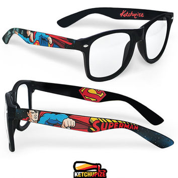 Superman glasses - clear lens glasses comic unique hand painted - red - blue - yellow