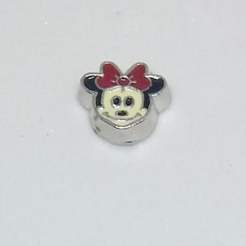 Minnie Mouse with Red Bow Floating Charm