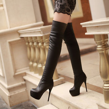 PU Round Toe High Heel Over Knee Boots