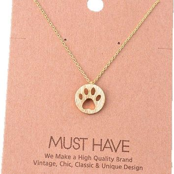 Must Have-Paw Print Necklace, Gold