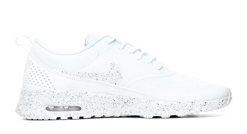 differently 6ecec 4df34 Nike Air Max Thea Running Shoes By Glitter Kicks - Triple White Black Paint  Speckle