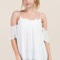 Gemma Crochet Cold Shoulder Top
