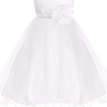 (Sale) 12-18 Months Girls White Sequin Party Dress w. Lettuce Hem Tulle