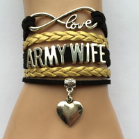 Army Wife Bracelet- Leather with heart charm