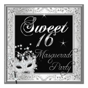 Masquerade Sweet 16 Sixteen Birthday Black White 5.25x5.25 Square Paper Invitation Card