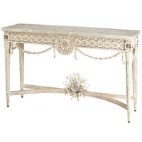 Currey and Company Devereux Console Table in Natural Washed White