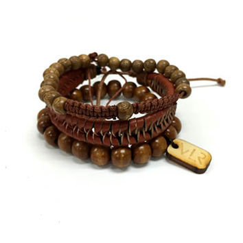 Rosary style and leather bracelet 3 pack