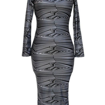 Geometric Print Long Sleeve Back Cut Out Midi Dress