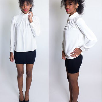 Vintage 1980's Barrie Pace Sheer Cream Blouse / Size 6 / Shoulder Pads / Button Back / Off-White / Classy Retro / Pleated Front