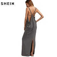 SHEIN Caged Draped Back Slit Dress Sexy Long Dresses Summer Ladies Sleeveless V Neck Backless Cut Out Split Shift Maxi Dress