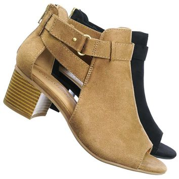 Invest Chunky Block Heel Side Cutout Ankle Bootie w Double Belted Detail