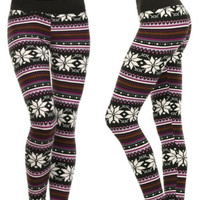 Customized Snowflake Leggings, Nordic Leggings, Christmas Leggings, Cute Leggings