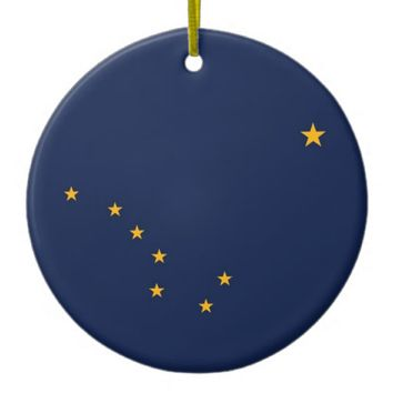 Ornament with flag of Alaska