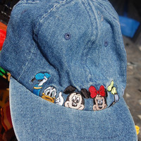 Vintage 80s 90s Denim Embroidered Disney Mickey Mouse Minnie Mouse Donald & Goofy Hat Baseball Cap Adult Adjustable