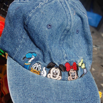 0f399c248cd Vintage 80s 90s Denim Embroidered Disney Mickey Mouse Minnie Mouse Donald    Goofy Hat Baseball Cap