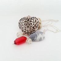 Big silver long heart necklace redglass beads gift for her valentines mothers day gift