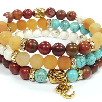 Gemstone Beaded Bracelets, Buddha head bracelets, Stretch bracelets, Boho Bracelet, Womens, Handmade, Custom, Beaded Jewelry, Womens Jewelry