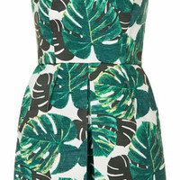 Petite Palm Bandeau Skort Playsuit - Green