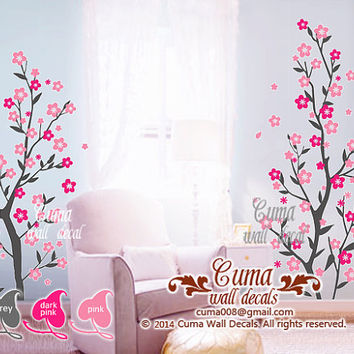 Baby girl wall decals Nursery wall decal flower tree wall sticker office wedding wall decal- floral tree cherry blossom Z223 by Cuma