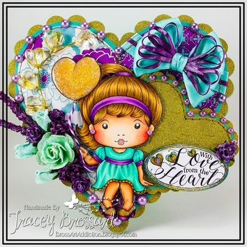 Handmade Valentine's Day Heart Shaped Anniversary Engagement Greeting Card / OOAK - With Love From The Heart - Handcrafted 3D Girly Flower