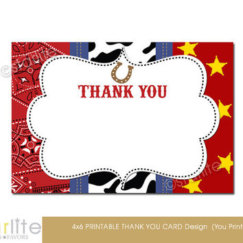 Western theme, Cowboy Thank You Card - Western Cowboy Baby Shower, Birthday Thank You Card - 4x6 Printable Card Design - You Print