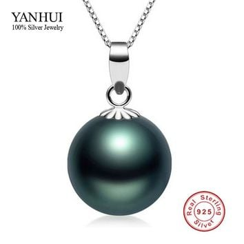50% OFF! Fine Jewelry 100% 925 Sterling Silver 10mm Black Pearl Pendant Necklace 18 inch Silver Chain Necklace For Women BKN007