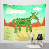 Cactus Unicorn Wall Tapestry by That's So Unicorny
