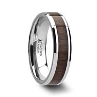 Tungsten Ring with Black Walnut Wood Inlay