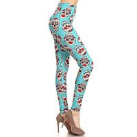 Women's Plus Teal Sugar Skulls Pattern Printed Leggings