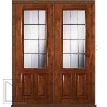 Pre-hung French Double Door 96 Wood Alder French 2/3 Lite Glass