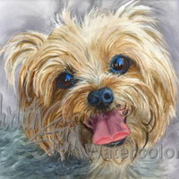 YORKSHIRE TERRIER Yorki Dog Pet Portrait Watercolor Print