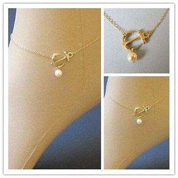 Celebrity Anchor Pearl Bead Charm Gold Anklet Bracelet Foot Chain Jewelry = 5658263553