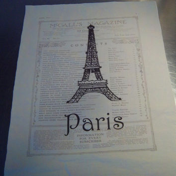 Paris fabric panel French decor Eiffel Tower art muslin cotton fabric block cotton sew on patch shabby French country art journal cover