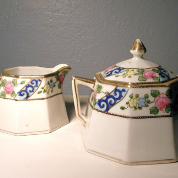 Early 20th Century Hand Painted Porcelain Cream and Sugar Set