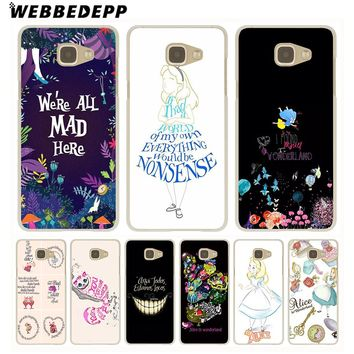 WEBBEDEPP Alice in Wonderland Anime Hard Case for Galaxy A3 A5 2015 2016 2017 A6 A8 Plus 2018 Note 8 9 Grand Cover