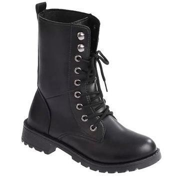 Black Lace Up Combat Boots