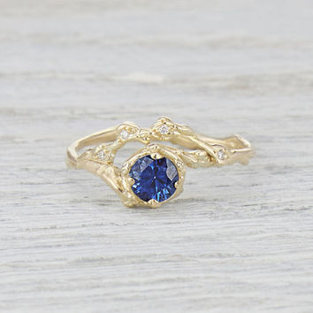 Halo Twig Engagement Ring Sapphire Solitaire - Twig Engagement Ring with Sapphire and Diamond Halo in Rose Gold, Yellow Gold, White Gold