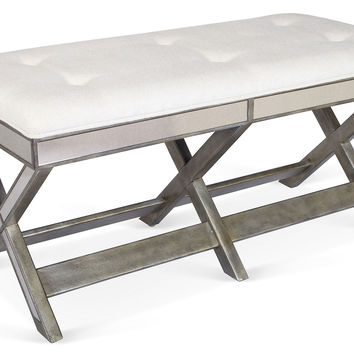 Corbett Mirrored Bench, Pewter, Entryway Bench, Bedroom Bench