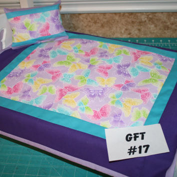 "American Girl sized,reversible doll bed quilt 17"" x 20"" with matching pillow 4.5"" x 6"""