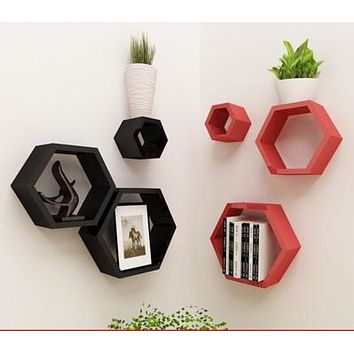 3Pcs Hexagon Shaped Wall Mounted Shelves
