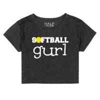 Softball Crop Top Softball Girl Gurl-Female Heather Onyx T-Shirt