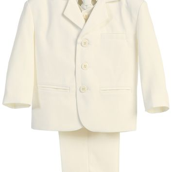 Boys Ivory 5pc Dress Suit w. 3-Button Jacket 6m-14