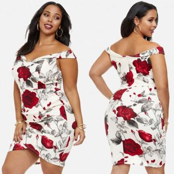 New Women Maxi plus size Summer Flora V-neck Sleeveless Bodycorn Off-Shoulder Casual Floral Dress