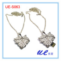 Maple Leaf  necklace usb2.0 8GB 16GB 32Gb usb flash drive , gift flash drive, free shipping