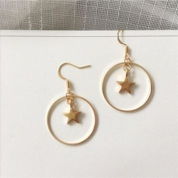 3 style New trendy gold sun star pentagram earring circle round Christian cross drop earring simple punk classic ear jewelry