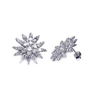 Sterling Silver Rhodium Plated Cluster Stud Earring